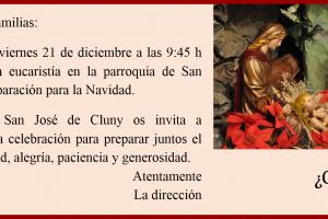 Invitación Eucaristía Navidad 2018. Cluny Santiago